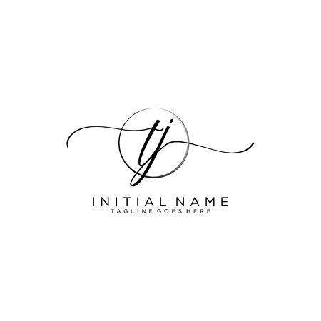 TJ Initial handwriting logo with circle template vector.