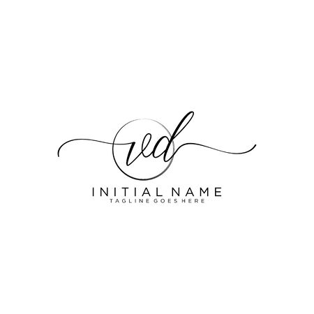 VD Initial handwriting logo with circle template vector.