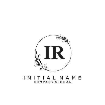 Letter IR Beauty Logo Template Vector Illustration
