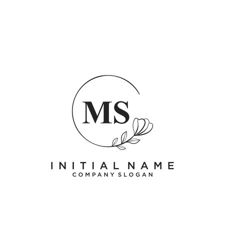 Letter MS Beauty Logo Template Vector