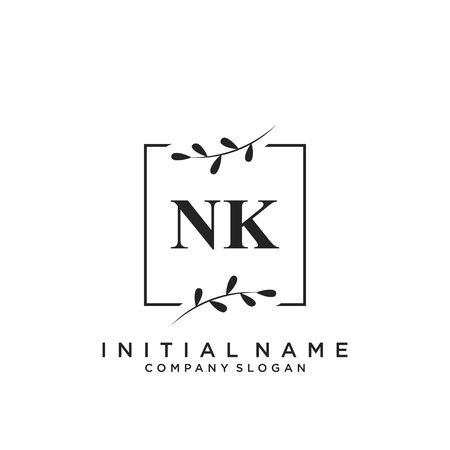 Letter NK Beauty Logo Template Vector
