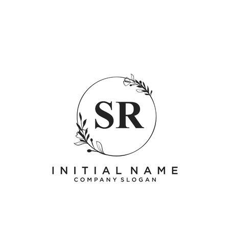 Letter SR Beauty Logo Template Vector