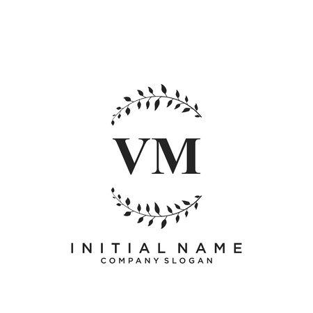 Letter VM Beauty Logo Template Vector