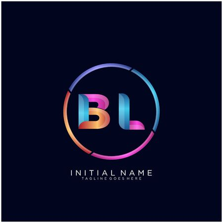 Initial letter BL curve rounded logo