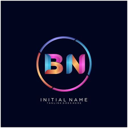 Initial letter BN curve rounded logo