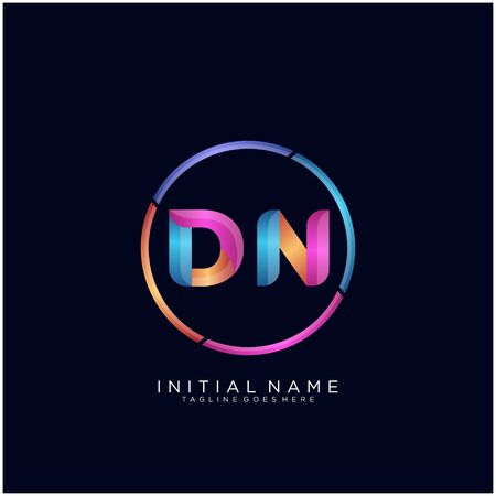 Initial letter DN curve rounded logo Logo