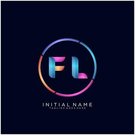 Initial letter FL curve rounded logo Logo