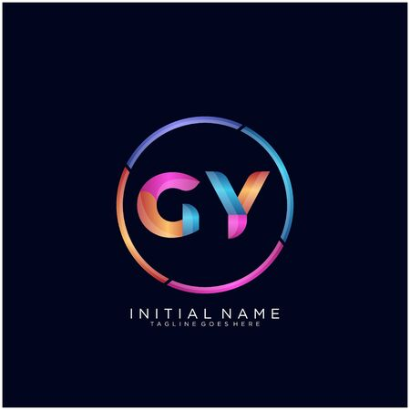 Initial letter GY curve rounded logo Logó