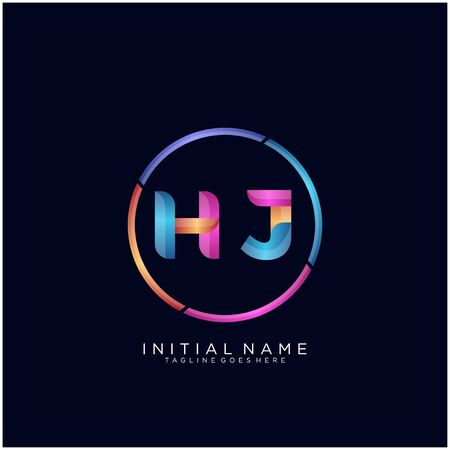Initial letter HJ curve rounded logo