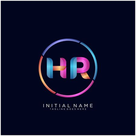 Initial letter HR curve rounded logo