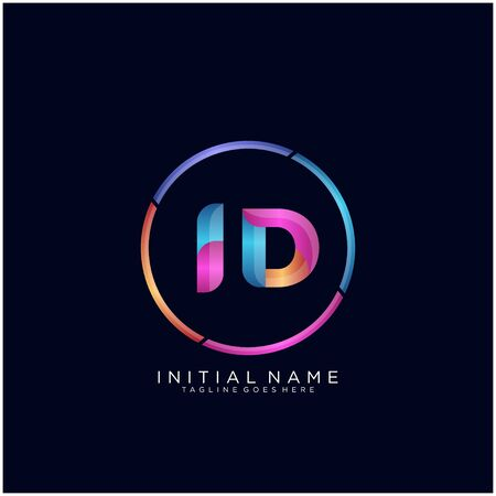 Initial letter ID curve rounded logo Ilustracja
