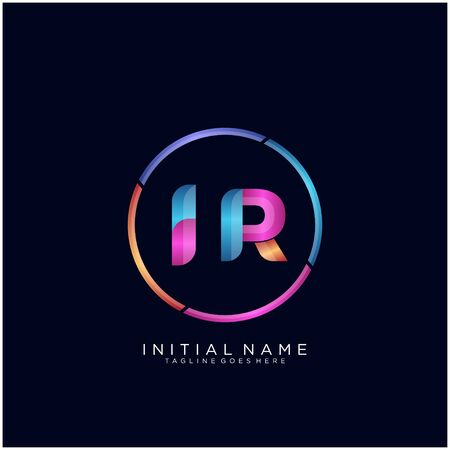 Initial letter IR curve rounded logo