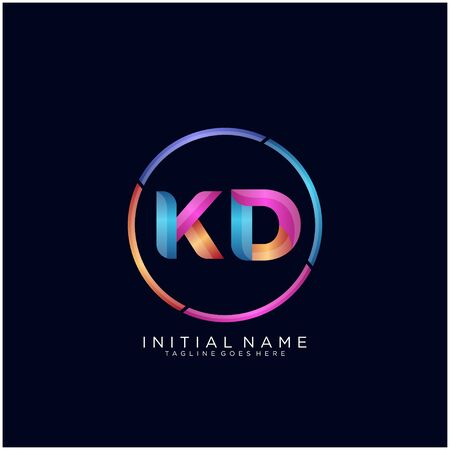 Initial letter KD curve rounded logo Logó