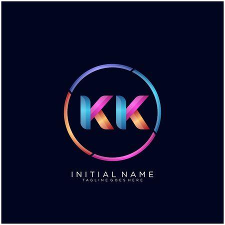 Initial letter KK curve rounded logo Logó