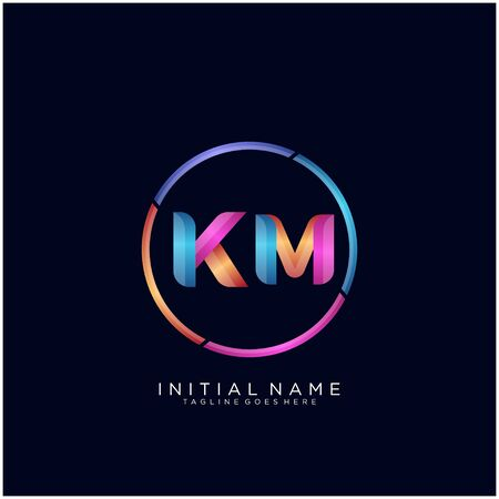 Initial letter KM curve rounded logo