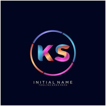 Initial letter KS curve rounded logo