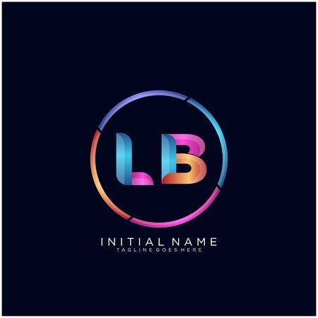 Initial letter LB curve rounded logo