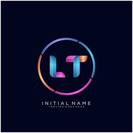 Initial letter LT curve rounded logo