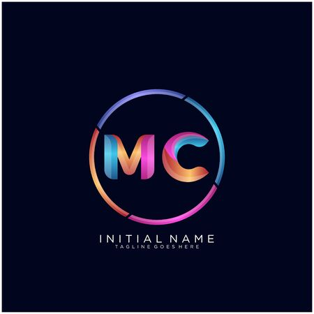 Initial letter MC curve rounded logo