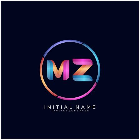 Initial letter MZ curve rounded logo