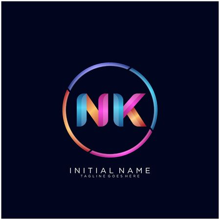 Initial letter NK curve rounded logo Ilustrace