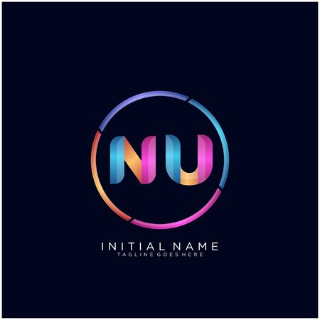Initial letter NU curve rounded logo
