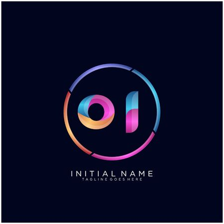 Initial letter OI curve rounded logo Logo