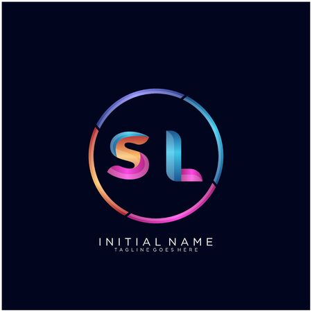 Initial letter SL curve rounded logo