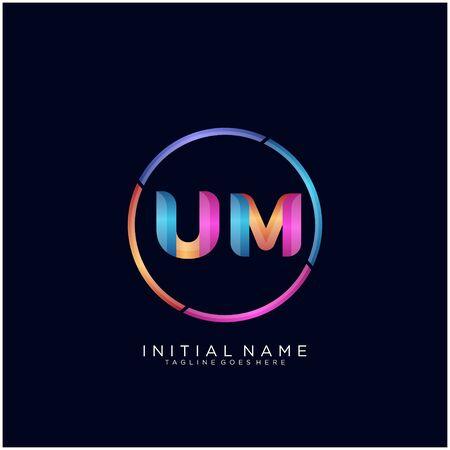 Initial letter UM curve rounded logo Logo