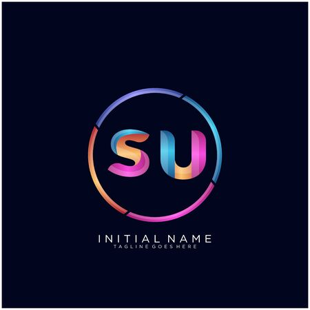 Initial letter SU curve rounded logo
