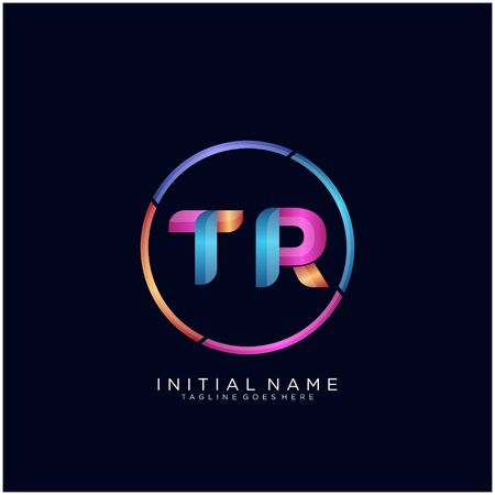 Initial letter TR curve rounded logo