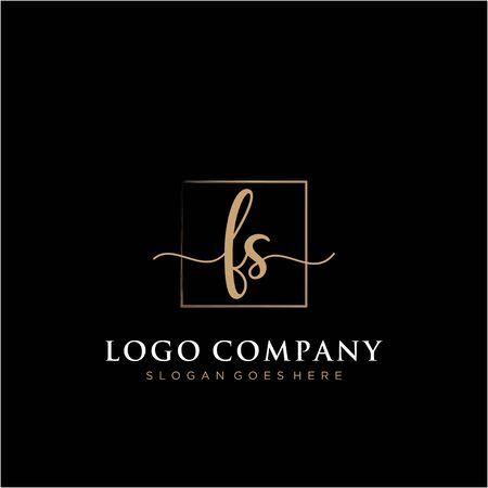 Initial handwriting logo with rectangle template vector Ilustração
