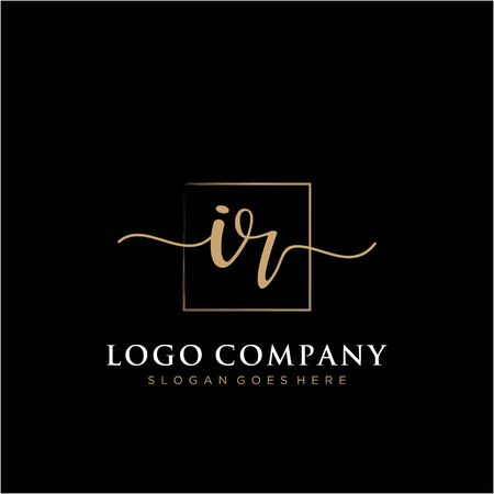 Initial handwriting logo with rectangle template vector Illustration