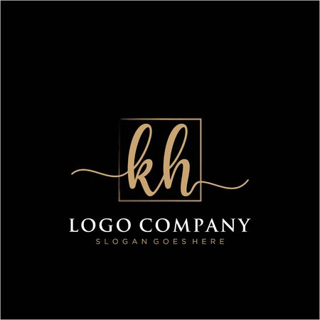 Initial handwriting logo with rectangle template vector Ilustrace