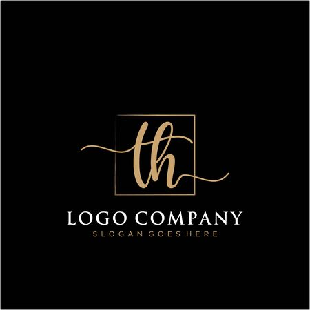 Initial handwriting logo with rectangle template vector Logó