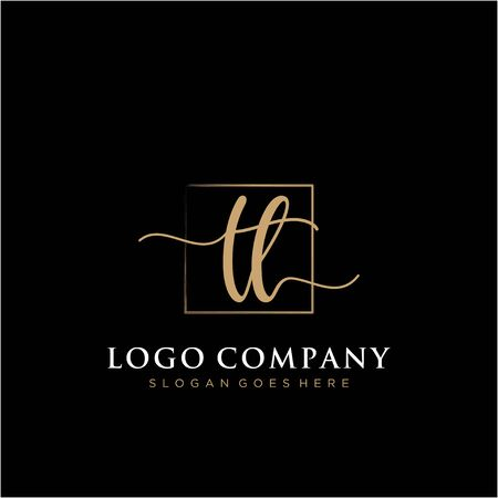 Initial handwriting logo with rectangle template vector