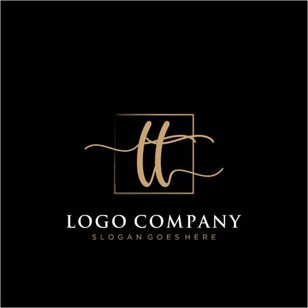 Initial handwriting logo with rectangle template vector Logo