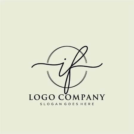 Initial handwriting logo design Beautiful design handwritten logo for fashion, team, wedding, luxury logo.  イラスト・ベクター素材