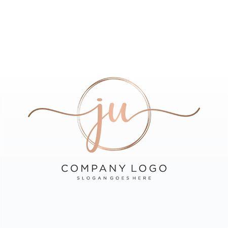 Initial handwriting logo design Beautiful design handwritten logo for fashion, team, wedding, luxury logo. 向量圖像