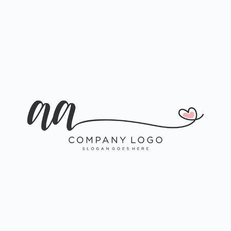 AA Initial handwriting logo design Beautyful designhandwritten logo for fashion, team, wedding, luxury logo. Logo