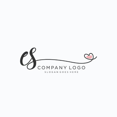 ES Initial handwriting logo design Beautyful designhandwritten logo for fashion, team, wedding, luxury logo.