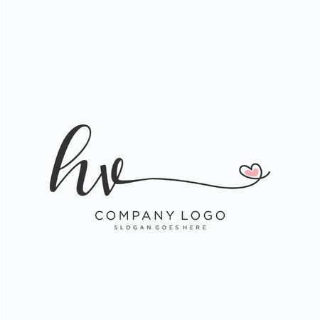HV Initial handwriting logo design Beautyful designhandwritten logo for fashion, team, wedding, luxury logo.