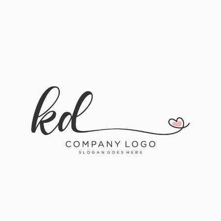 KD Initial handwriting logo design Beautyful designhandwritten logo for fashion, team, wedding, luxury logo. Logó