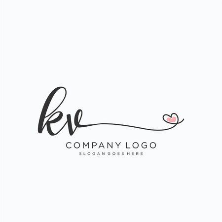 KV Initial handwriting logo design Beautyful designhandwritten logo for fashion, team, wedding, luxury logo. Logó