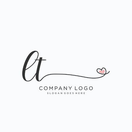 LT Initial handwriting logo design Beautyful designhandwritten logo for fashion, team, wedding, luxury logo. Illusztráció