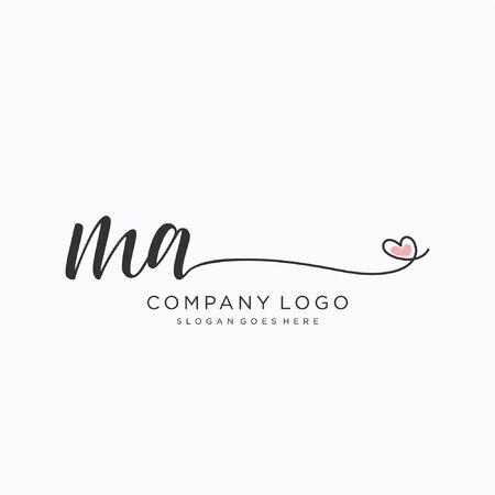MA Initial handwriting logo design Beautyful designhandwritten logo for fashion, team, wedding, luxury logo.