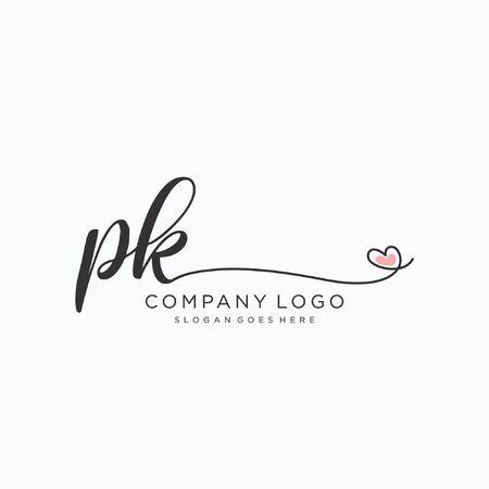 PK Initial handwriting logo design Beautyful designhandwritten logo for fashion, team, wedding, luxury logo.