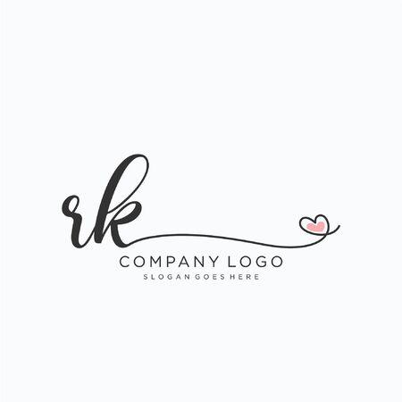 RK Initial handwriting logo design Beautyful designhandwritten logo for fashion, team, wedding, luxury logo.