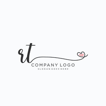 RT Initial handwriting logo design Beautyful designhandwritten logo for fashion, team, wedding, luxury logo. Logó