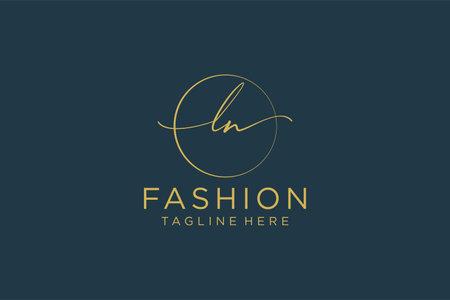 LN Feminine logo beauty monogram and elegant logo design, handwriting logo of initial signature, wedding, fashion, floral and botanical with creative template.